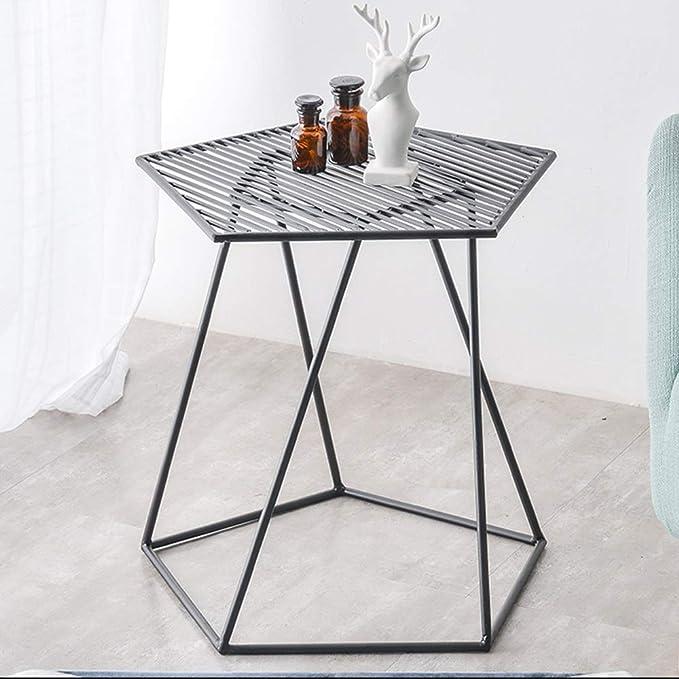 Amazon.com: Mesa auxiliar de hierro de Haizhen, mini mesa ...