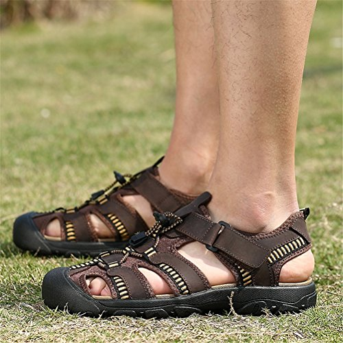 Casual Outdoor Color Size Baotou 2018 42 Brown Shoes Large Green Sports Men's Breathable HUAN Size Shoes for Leather Shoes Sandals C Coffee Men's Beach Summer qtZwP10U