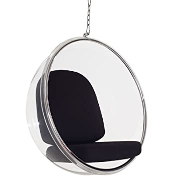 Modway Eero Aarnio Style Bubble Chair With Black Pillows