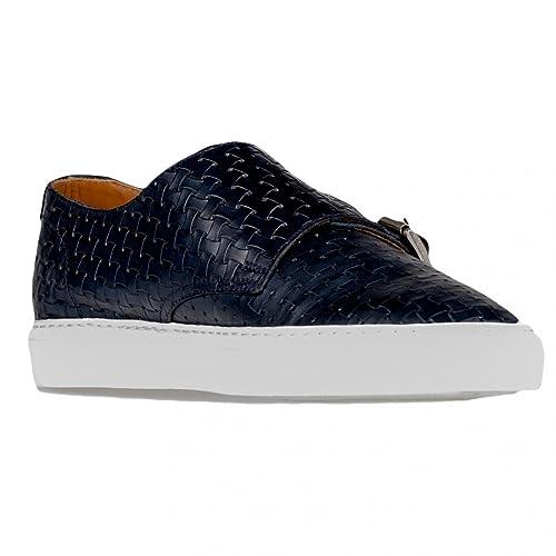 559195b2f3 DOUCAL'S Sneakers Uomo Blue Pelle INTRECCIATA DOPPIA FIBBIA Made in ...