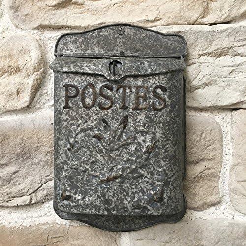 Bo/îte aux Lettres Murale Poste en Zinc Style Ancien 40 cm