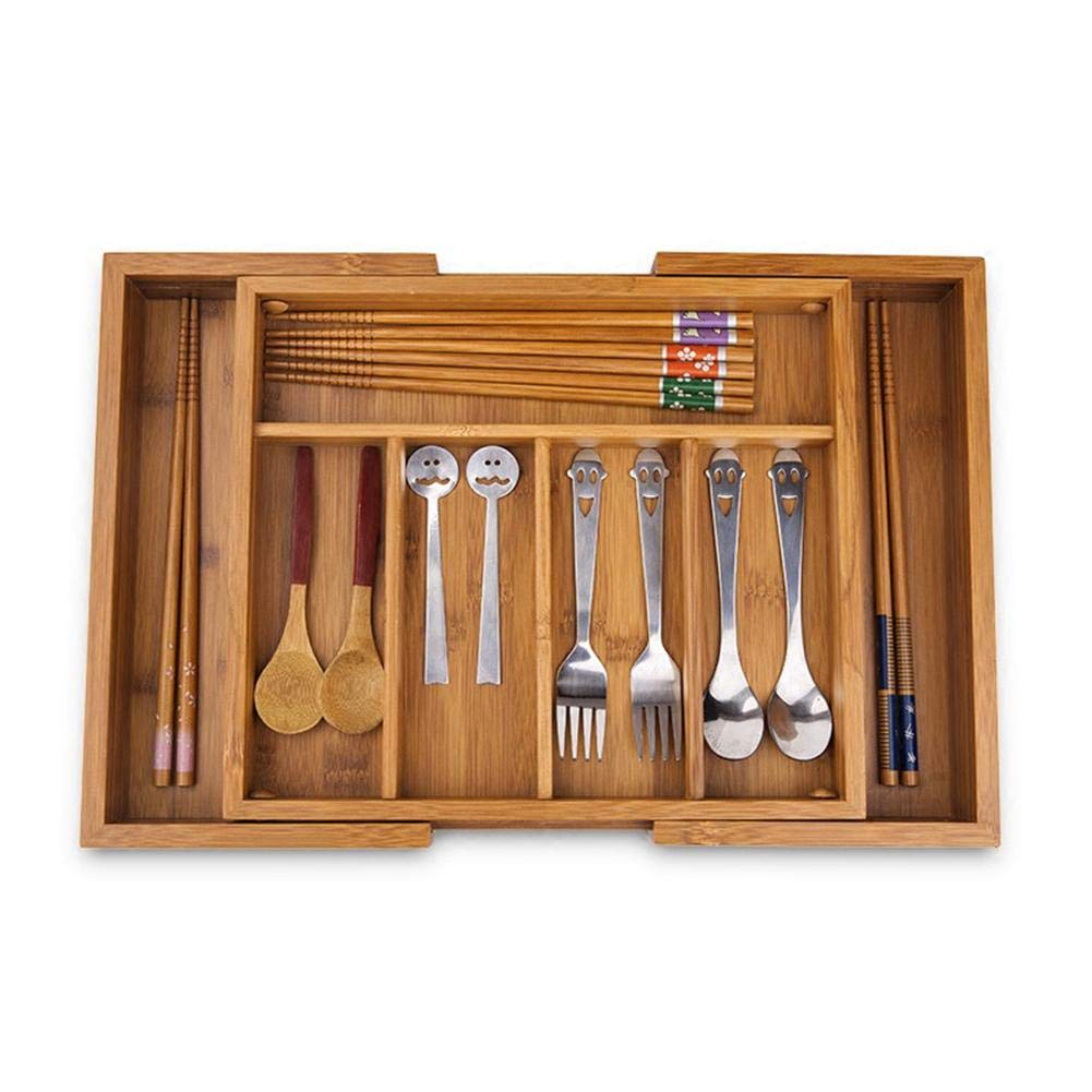 iBaste/_S Wood Drawer Organizer Large Extandable Cutlery Tray Kitchen Utensils Storage Silverware Organizer Bamboo 5 to 7 Compartments Adjustable