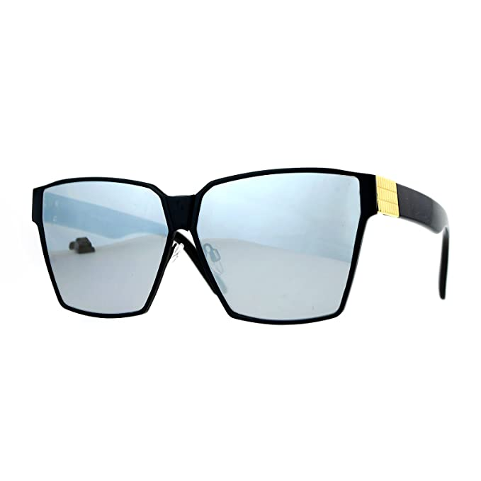 dc3218a6ac5 SA106 Diva Oversize Mob Rectangular Mafia Mirror Lens Sunglasses Black  Mirror