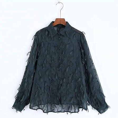 YuQuanXin Burr Camisa Verde con Flecos Camisa Oscura para Mujeres (Color : Dark Green, Size : M): Amazon.es: Hogar