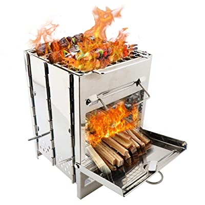 JAEX Outdoor BBQ Barbecue Stove Stainless Steel Camping Grill Portable Mini Wood Lightweight Cooking Folding Backpacking Picnic (1515CM): Kitchen & Dining