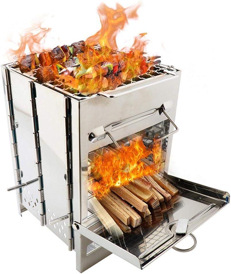 Estufa de acampar cuadrada de acero inoxidable Estufa de leña,estufa de barbacoa plegable portátil para picnic,mini cocina de carbón Estufa para mochileros para acampar al aire libre Senderismo Picnic