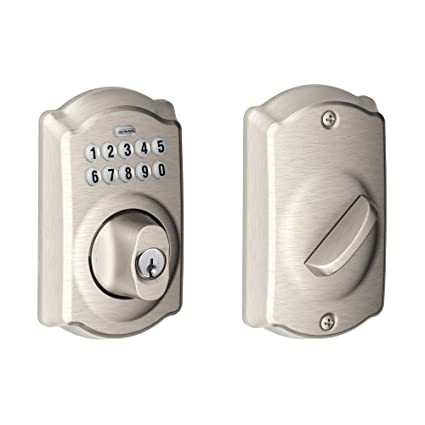 Schlage BE365VCAM619 BE365V CAM 619 Camelot Keypad Deadbolt, 1 Pack, Satin  Nickel