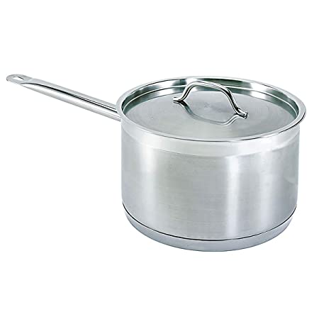 Update International SSP-7 7 1 2 Qt Stainless Steel Sauce Pan w Cover and Helper Handle