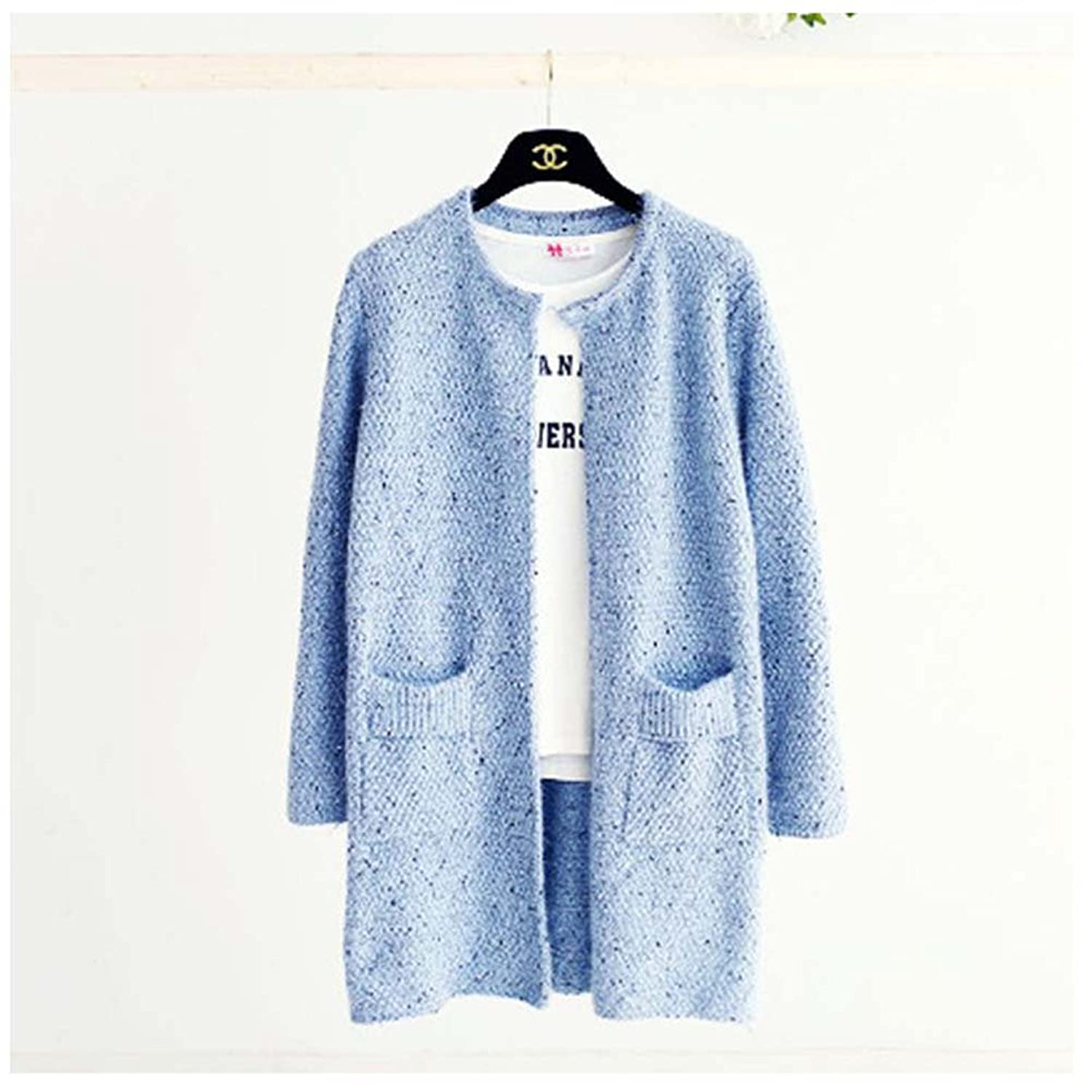 WSHINE Women's Sweater Dot Knit Cardigan Knitwear Mid-long Coat Jackets