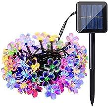 Qedertek Solar String Lights, 22ft 50 LED Waterproof Cherry Blossom Solar Flower String Lights for Indoor/Outdoor,Patio,Garden,Xmas,Holiday,Festivals Decorations (Multi-color)