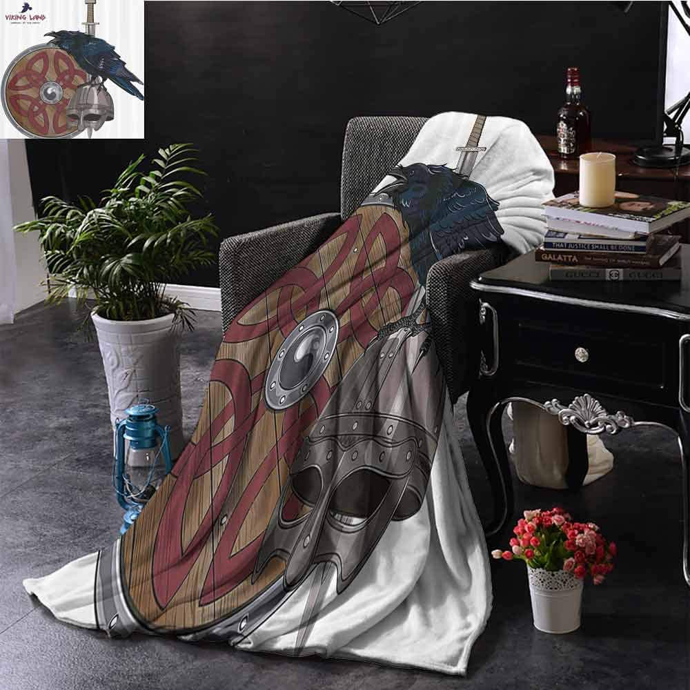 Viking Bedding flannel blanket Raven on Steel Helmet Nordic Sword Shield Scandinavian Army Medieval Armour Super soft and comfortable luxury bed blanket W70 x L70 Inch Dark Blue Grey and Caramel