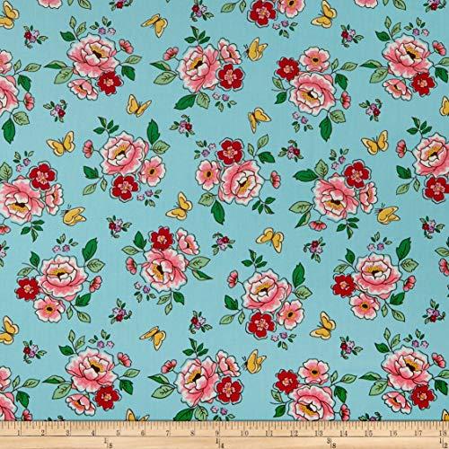 Riley Blake Designs Penny Rose Mon Beau Jardin Main Fabric, Aqua, Fabric By The Yard