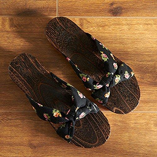 LI SHI XIANG SHOP Hausschuhe Clogs weibliche Hausschuhe chinesischen Stil Holz Sandalen japanischen Stil rutschfeste...