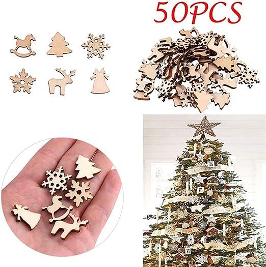 NaiCasy Cortar 50pcs de Navidad de Madera Natural Adornos del ...