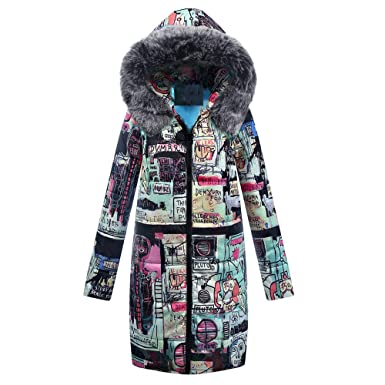 2c25b07d1b6 vermers Clearance Womens Winter Long Down Parka Hooded Coat Fashion Printed  Zipper Quilted Jacket Outwear Clothes