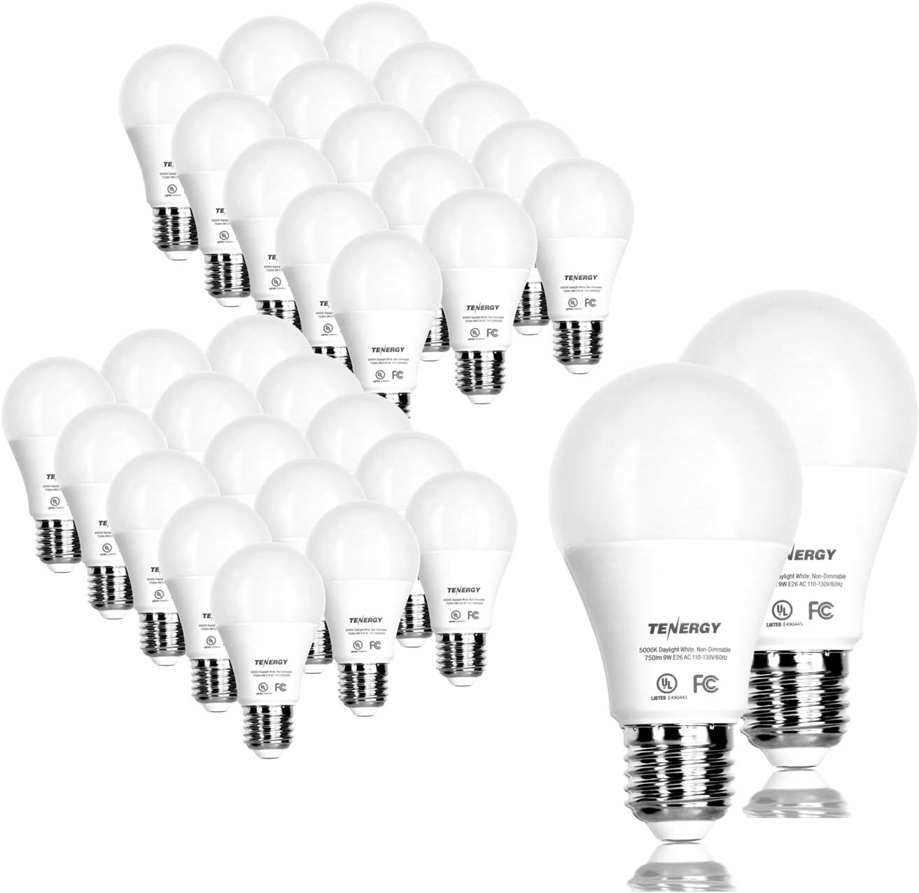 Tenergy LED Light Bulb, 9 Watts (60W Equivalent) A19 E26 Medium Standard Base, 5000K Daylight White Energy Saving Light Bulbs for Office/Home, 32-Pack, Non-Dimmable