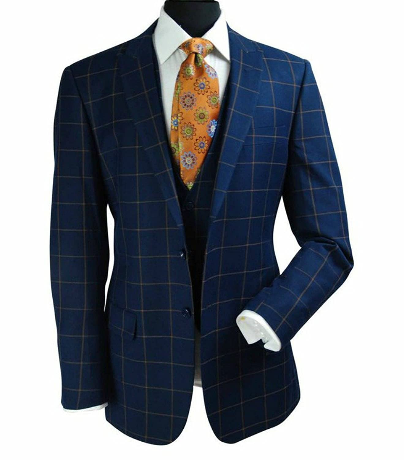 Men's Vintage Style Suits, Classic Suits Steven Land Mens Blue Windowpane Two Button Three Piece Suit With Peak Lapels $219.00 AT vintagedancer.com