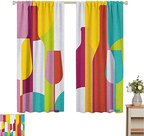 June Gissing Wine Window Darkening Curtains Colorful Abstract Wine Bottle Glass Silhouettes Modern Party Drinks Geometric Design Kitchen Bedroom Window Treatments Home Decoration W63 x L72 Multicolor