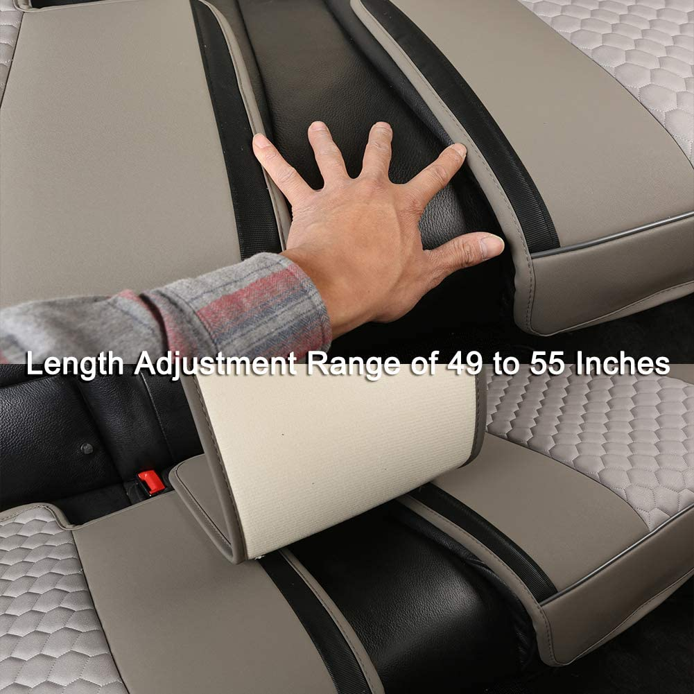 Diamond Pattern Embroidery Gray Compatible with Most Vehicles Black Panther Luxury PU Leather Rear Car Seat Cover Adjustable Length 49-55