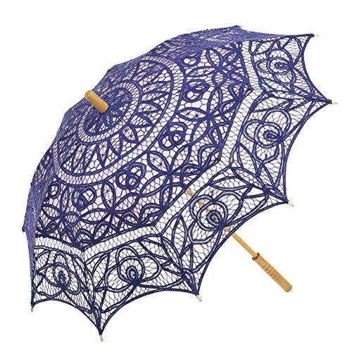 Remedios Battenburg Lace Parasol Umbrella Wedding Bridal Decoration Royal Blue