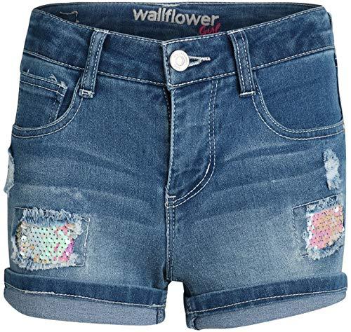 ('WallFlower Girls Soft Strech Denim Shorts (Medium Light Wash W/Sequin, 10)')