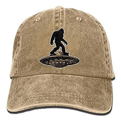 SARA NELL Unisex Adult Bigfoot UFO Custom Vintage Adjustable Baseball Cap Cotton Denim Cowboy Dad Hat