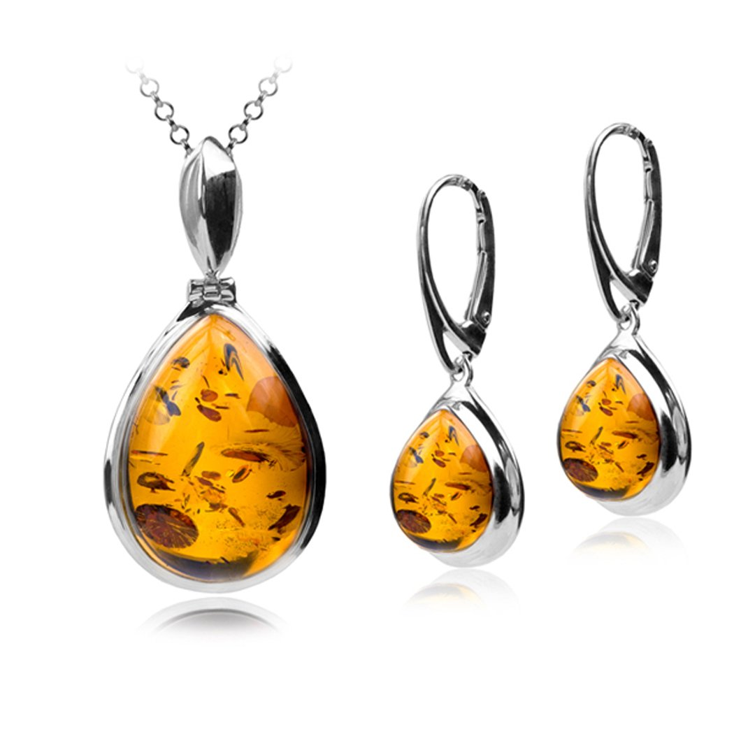 Sterling Silver Amber Sun Drop Jewelry Set Earrings and Necklace Chain 18 Inches