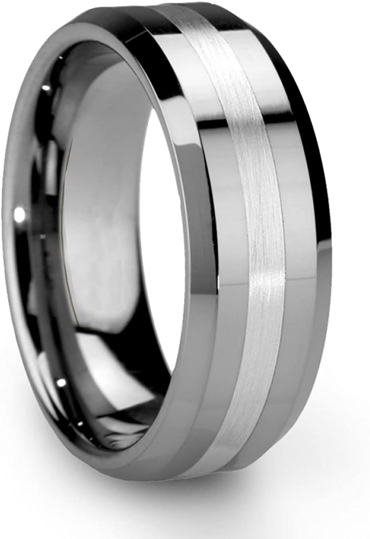 King Will Classic Silver Men's 8mm Tungsten Ring One Tone Matte Finish Brushed Center Wedding Band