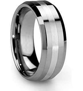 king will classic mens 8mm tungsten ring one tone matte finish brushed center wedding band beveled - Tungsten Mens Wedding Ring