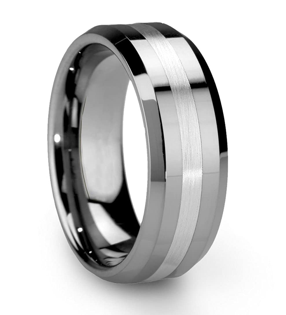 King Will Classic Men's 8mm Tungsten Ring One Tone Matte Finish Brushed Center Wedding Band Beveled Edge OY-R104