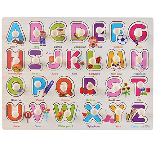 Price comparison product image Fullfun Alphabet Wooden Puzzle Toy For Baby Hand Grasp Early Educational (G)