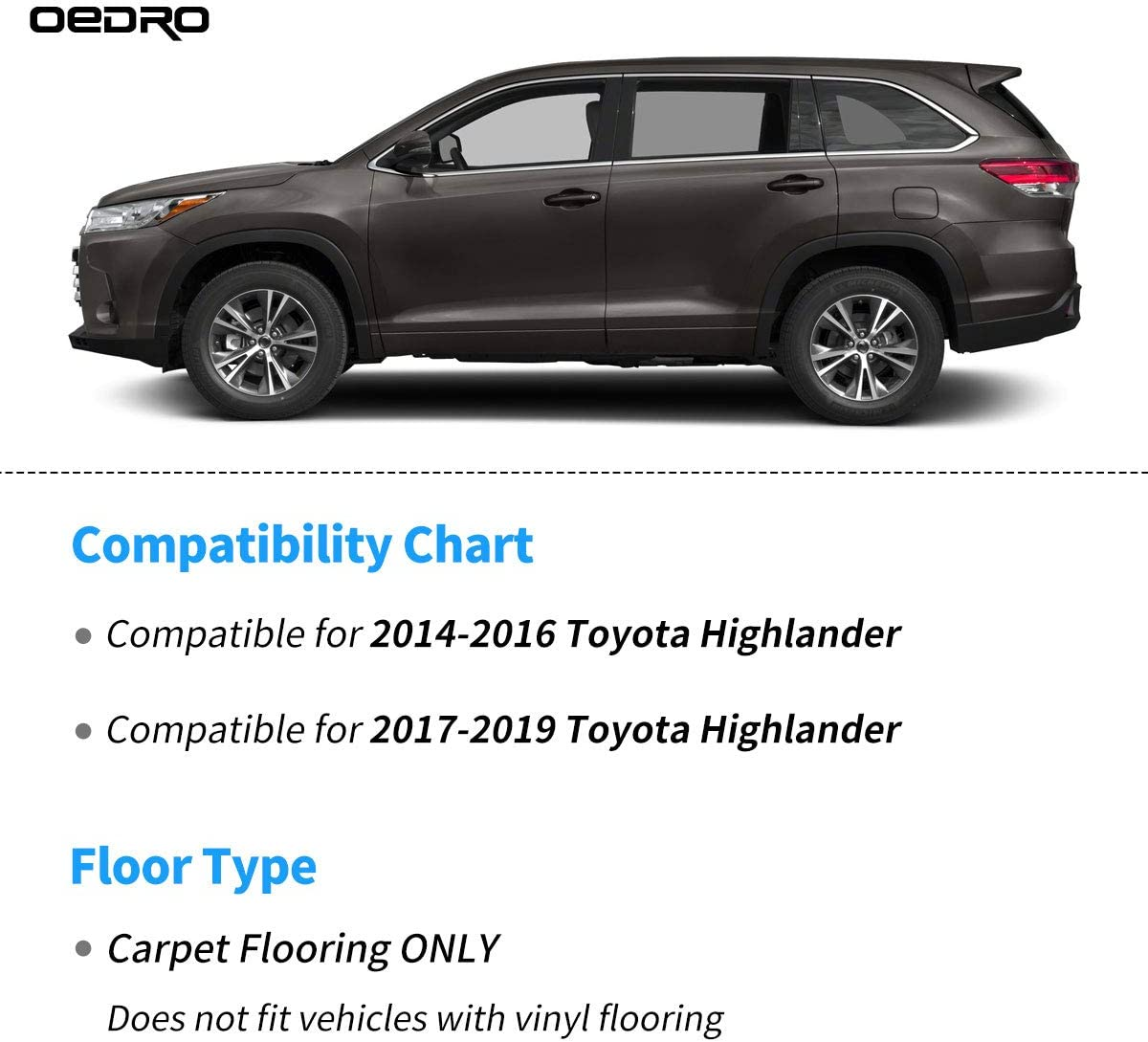 oEdRo Floor Mats Compatible for 2014-2019 Toyota Highlander,Unique Black TPE All-Weather Guard Includes 1st and 2nd Row Rear Full Set Liners Front