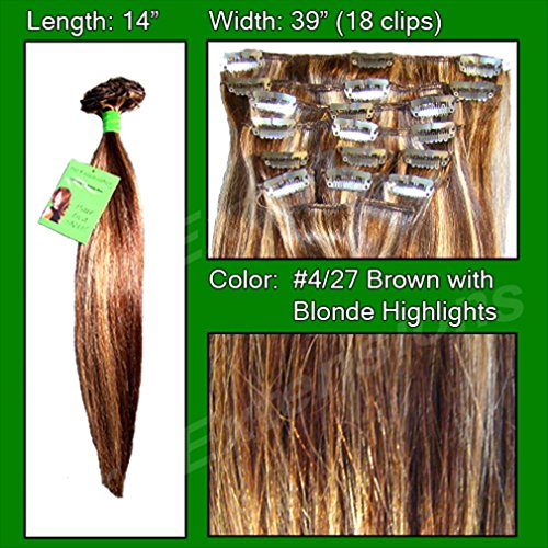 Pro Extensions clip in hair extension #4/27 Dark Brown w/ Golden Blonde Highlights. 100% human hair extensions
