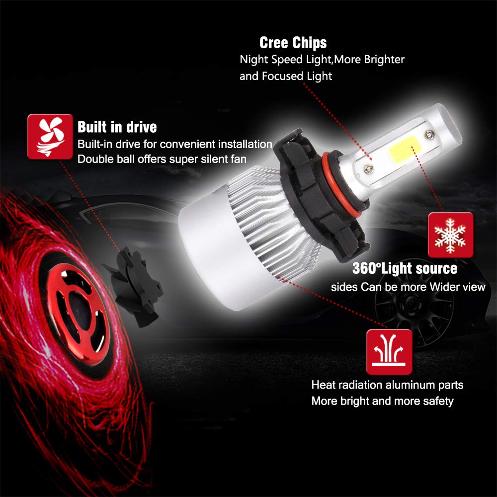 Pack of 2 80W 6000K 9600Lm ECCPP 9006 LED Headlight Bulb Hi//Lo Beam White Headlamp Conversion Kit 1 Year Warranty