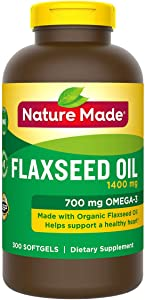 Nature Made Organic Flaxseed Oil 1,400 mg - Omega-3-6-9 for Heart Health - 300 Softgels