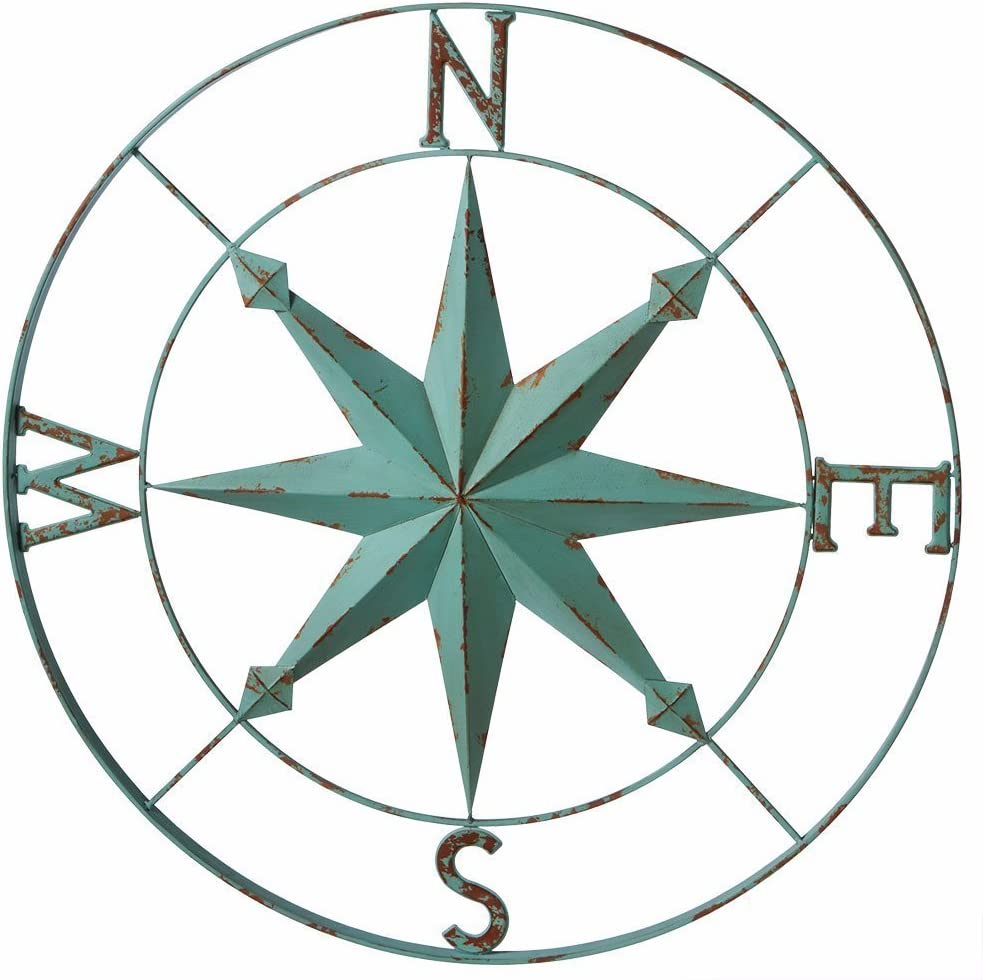 Midwest-CBK Nautical Aqua Blue Wall Rose Compass - 30-in