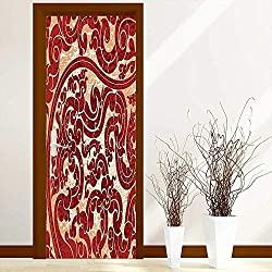L-QN Sticker for Front Door Thai Culture Vector Abstract Background Flower Pattern Wallpaper Design Print Burgundy Anti-UV, Easy Installation W31 x H79 inch