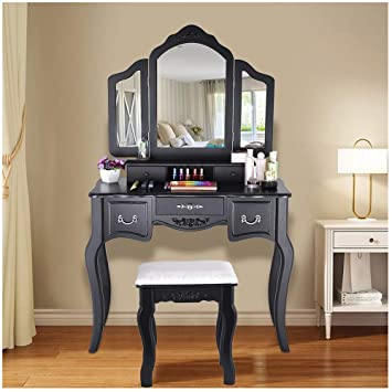 Makeup Vanity Table Set 3 Tri-Folding Mirror and 5 Organization Drawers Vanity Beauty Station with Cushioned Stool,Black