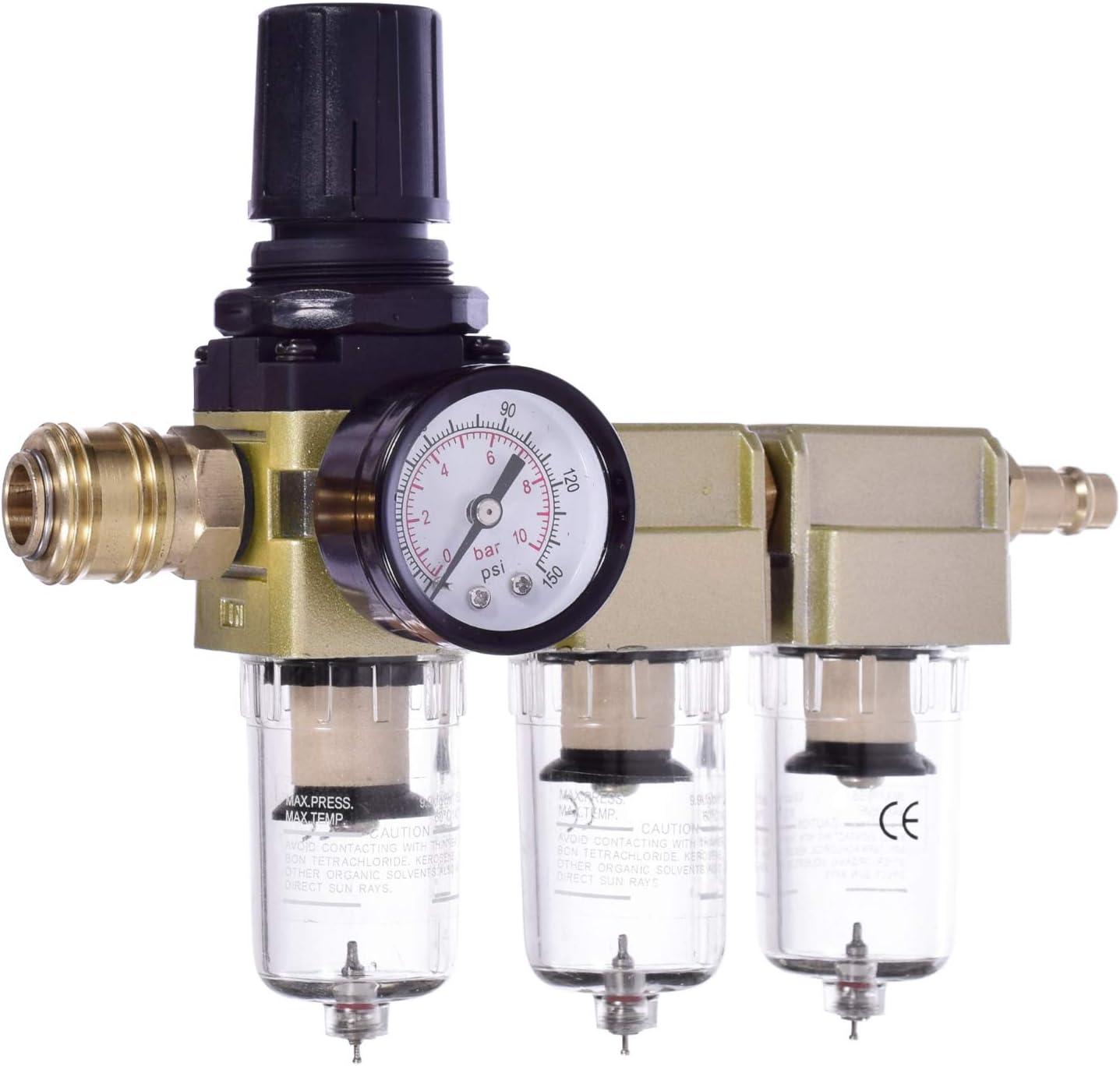 1//2 R/égulateur de Pression dAir Air Filtre R/égulateur Pression dEau Compresseur S/éparateur dHuile Piege a Huile Raccord rapide