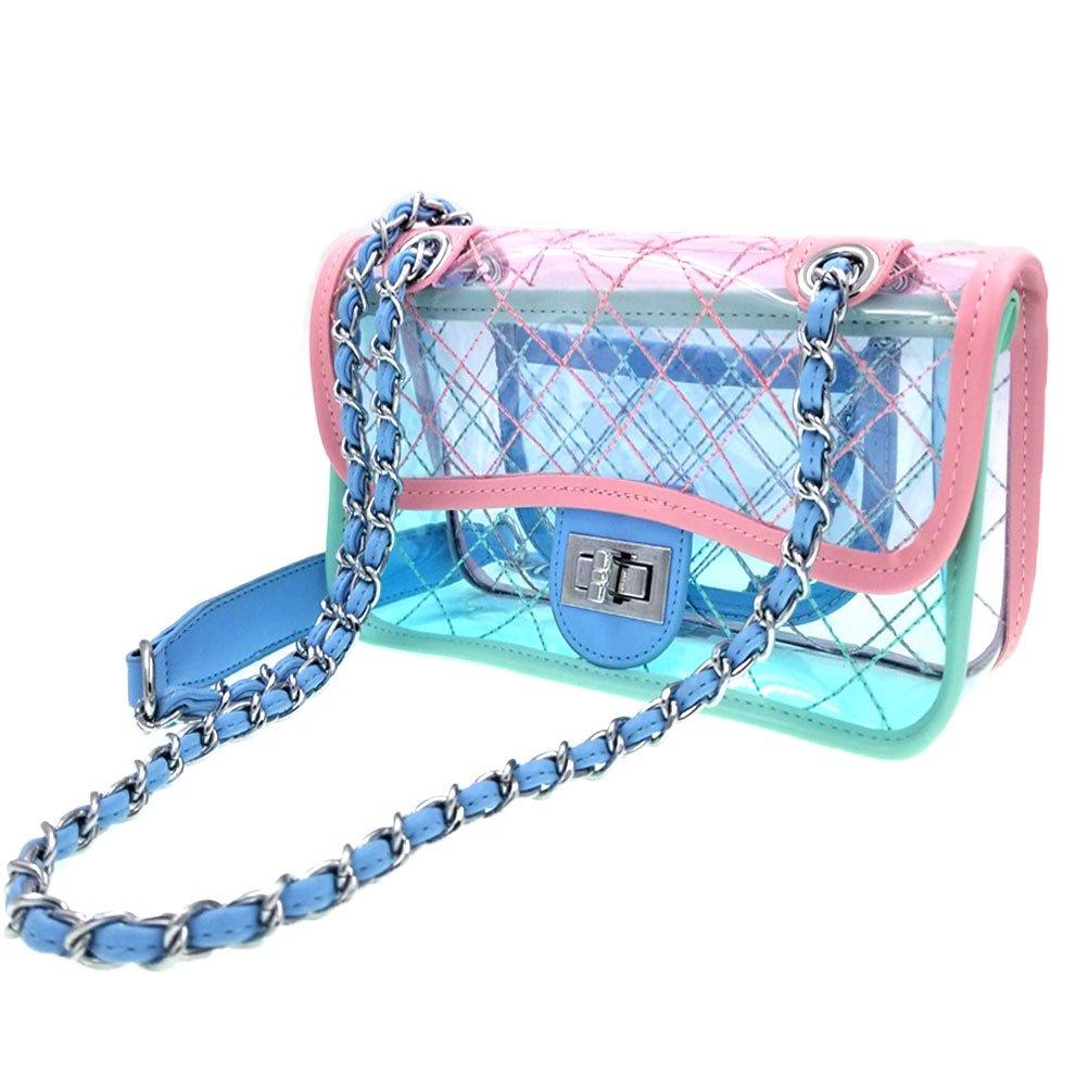871436ab47 Abuyall Clear Beach Bag Pvc Lattice Messenger Chain Fashion Jelly  Transparent Waterproof Shoulder Bag Handbag Small S1  Amazon.co.uk  Shoes    Bags