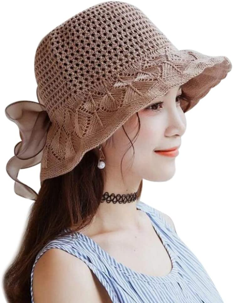 LONTG Women Bucket Cap Summer Sun Hat Handmade Woven Sunhat Floppy Beach Cap Elegant Evening Party Cap Headwear Breathable Foldable Beading Bowknot Decoration for Travel Wedding