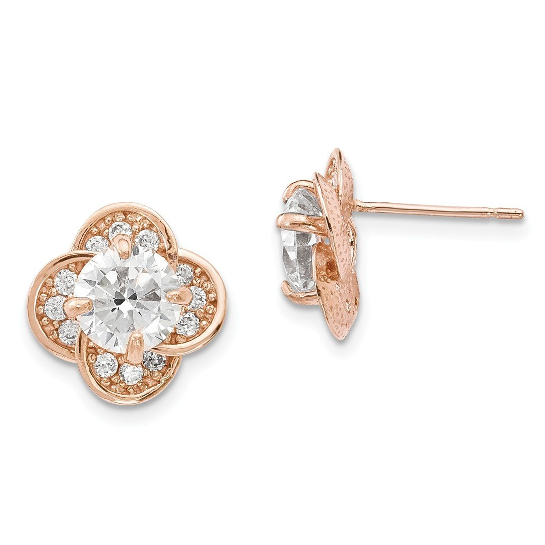 ICE CARATS 10k Tiara Collection Rose Gold Cubic Zirconia Cz Post Stud Ball Button Earrings Yc Fine Jewelry Ideal Mothers Day Gifts For Mom Women Gift Set From Heart