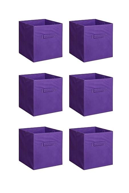 Anofora 6 PCS Purple Fabric Home Storage Bins Organizer Cube Boxes Basket Drawer Container  sc 1 st  Amazon.com & Amazon.com: Anofora 6 PCS Purple Fabric Home Storage Bins Organizer ...