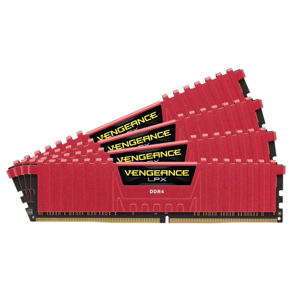 CORSAIR DDR4 デスクトップPC用 メモリモジュール VENGEANCE LPX Series 8GB×4枚キット CMK32GX4M4A2666C16R B00PC9H6TM 8GB x4|レッド レッド 8GB x4