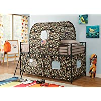 1PerfectChoice Youth Boys Kids Twin Loft Bed w/ Army Hunting Style Tent & Ladder Black Metal