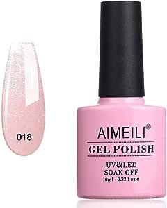AIMEILI Soak Off UV LED Gel Nail Polish - Sparkle Grapefruit (018) 10ml