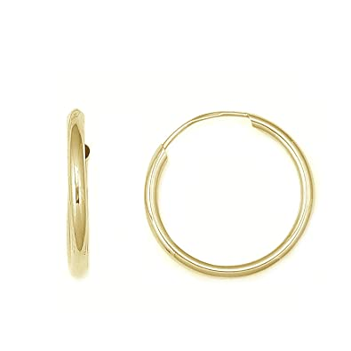 16mm Endless Hoop Earrings Small Gold Hoops 14K Solid Gold