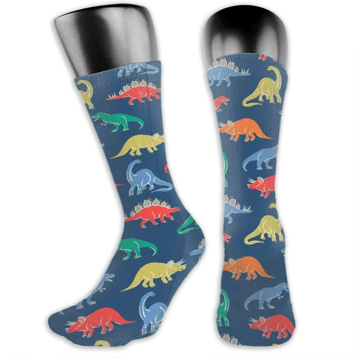 Dinosaurs Green Cotton Casual Colorful Fun Below Knee High Athletic Socks