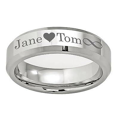 Personalized Outside Inside Engraving Cobalt Wedding Band Ring 6mm High Polished Beveled Edge