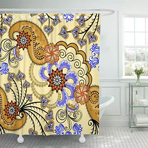 Emvency Fabric Shower Curtain with Hooks Purple Brown Paisley Decorated with Lilac Leaves and Orange Flowers on Light Yellow Fan Extra Long 72